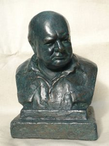 ONC938 - Churchill in His Siren Suit (Bronze Resin and Verdigris)
