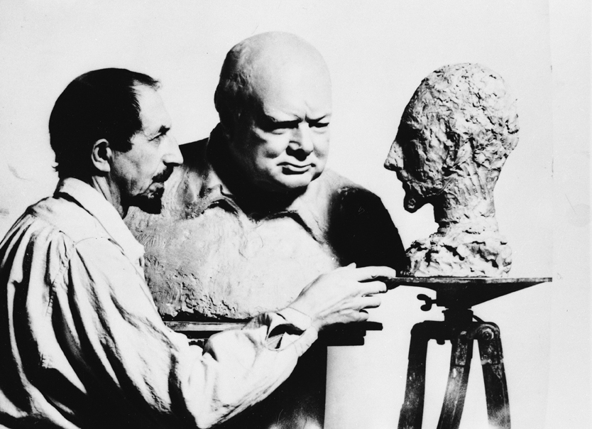 Nemon with his bust of Churchill, and Churchill's of Nemon